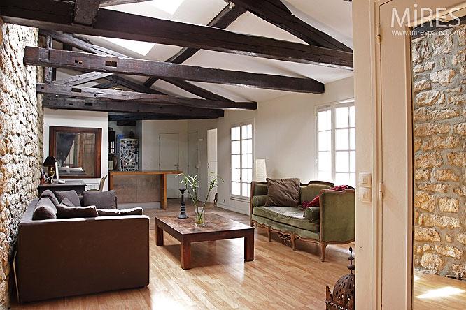 pierre et poutre apparentes c0144 mires paris. Black Bedroom Furniture Sets. Home Design Ideas