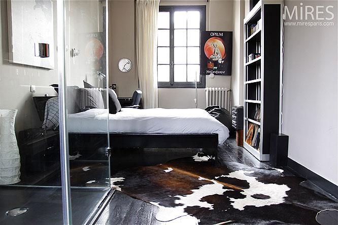 Chambre Deco Garage : Chambre et parquet noir c mires paris