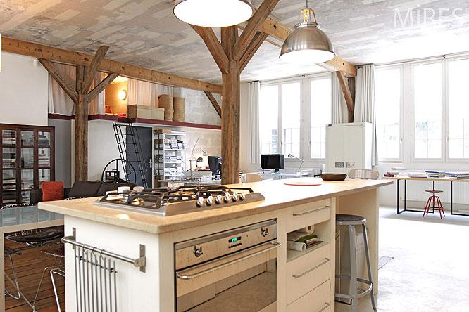 Cuisine ouverte c0201 mires paris - Ilot centrale pour cuisine ...