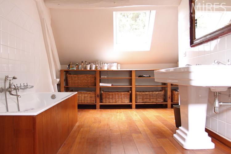 Lavabo colonne double vasque Art déco, blanc, bois. C0613 | Mires ...