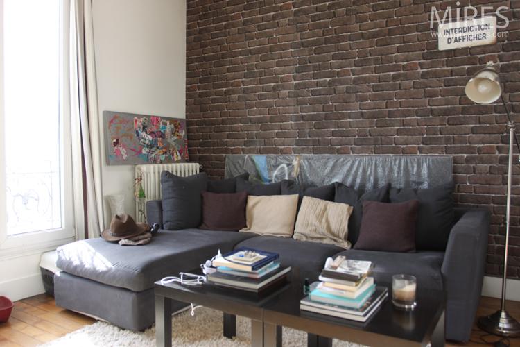Chambre salon avec un mur de briques brunes c0643 mires paris - Deco mur de brique salon ...