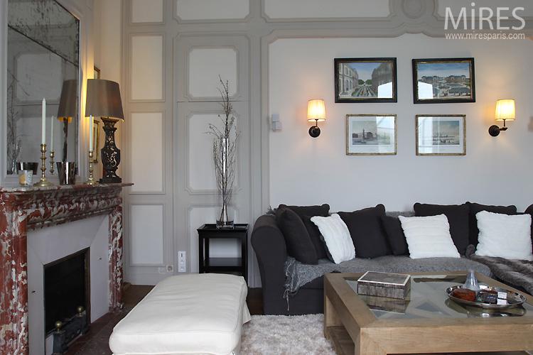 Salon de t l vision gris noir blanc rouge c0550 for Salon noir blanc gris