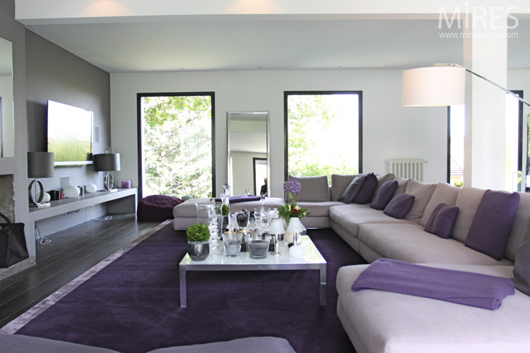 salon violet et beige table de lit a roulettes. Black Bedroom Furniture Sets. Home Design Ideas
