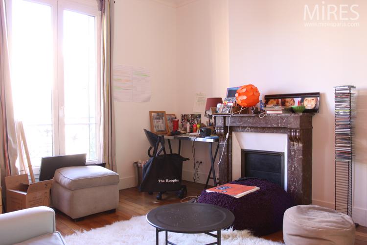 Chambres jumelles, blanc, orange, bleu. C0643 | Mires Paris