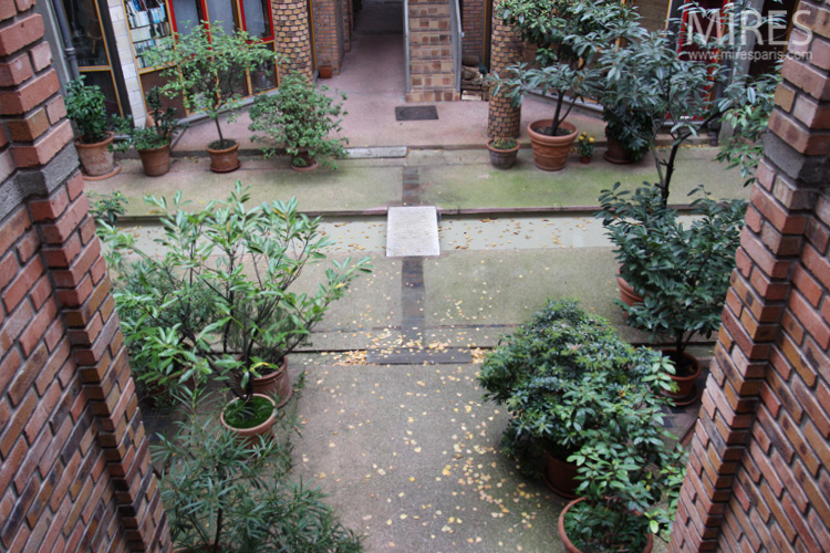 Garden basin, potted plants and relaxation area. C0655