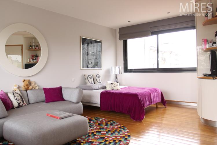 Chambre salon rose avec salle de bains c0719 mires paris - Salon de la salle de bain paris ...