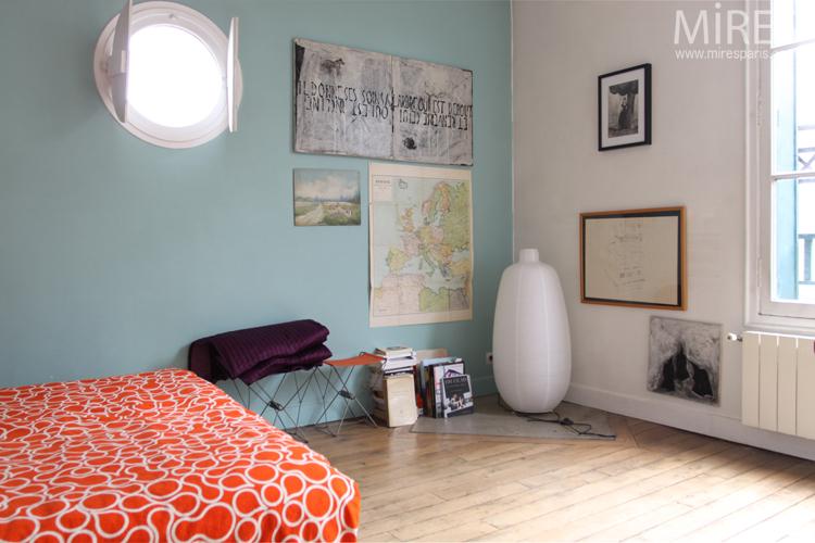 Chambre vert d\'eau avec hublot. C0729 | Mires Paris