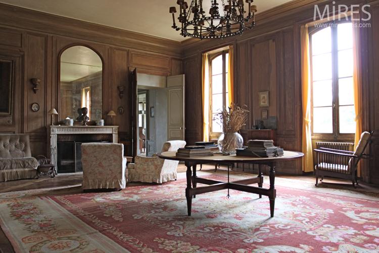 biblioth que et salon en boiserie c0726 mires paris. Black Bedroom Furniture Sets. Home Design Ideas