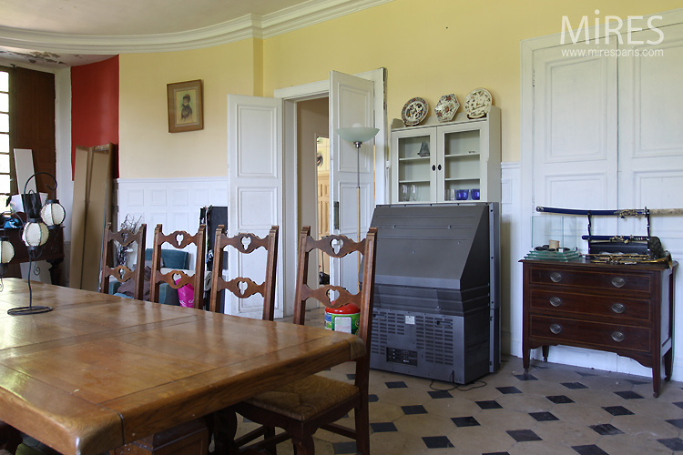 Room with large fireplace and piano. C0741