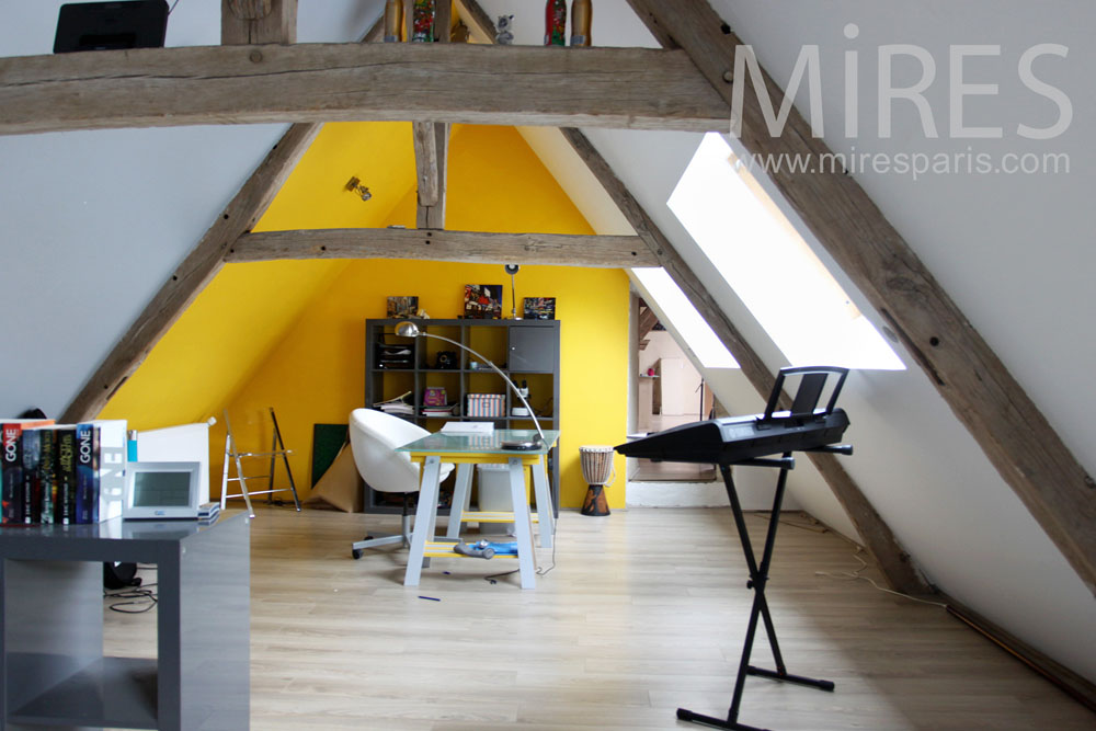 Bedroom with a desk on the attic. C0787