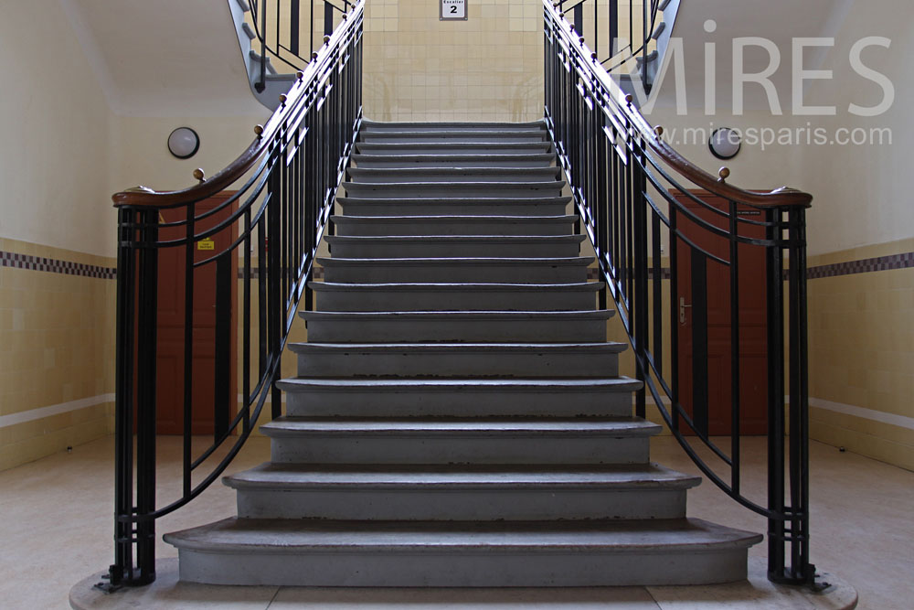 Grand escalier ann e 30 c0790 mires paris for Carrelage annees 30
