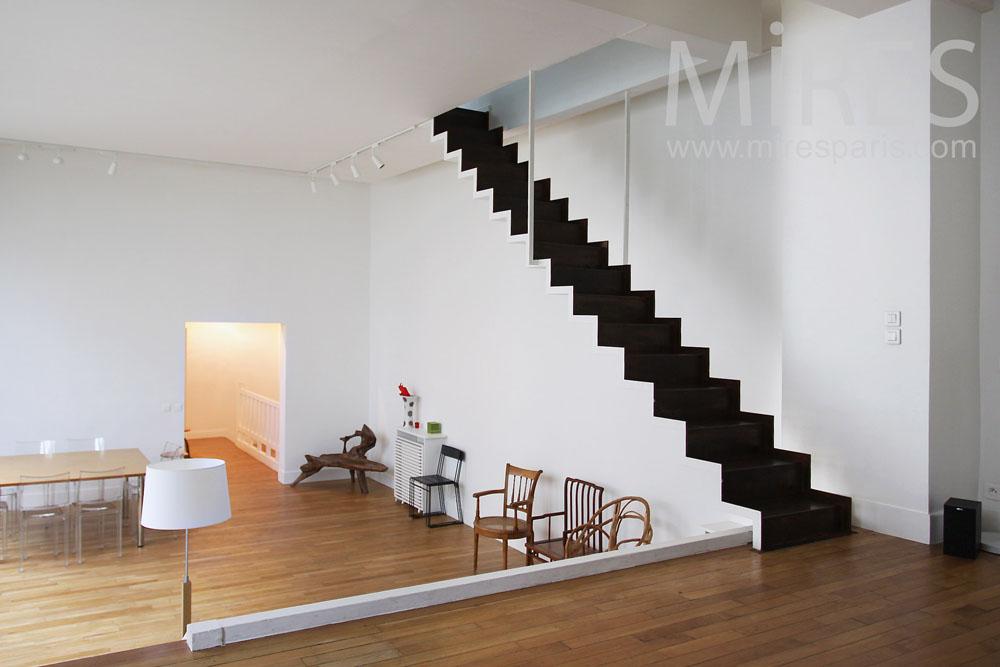 escalier noir et blanc suspendu c0807 mires paris. Black Bedroom Furniture Sets. Home Design Ideas