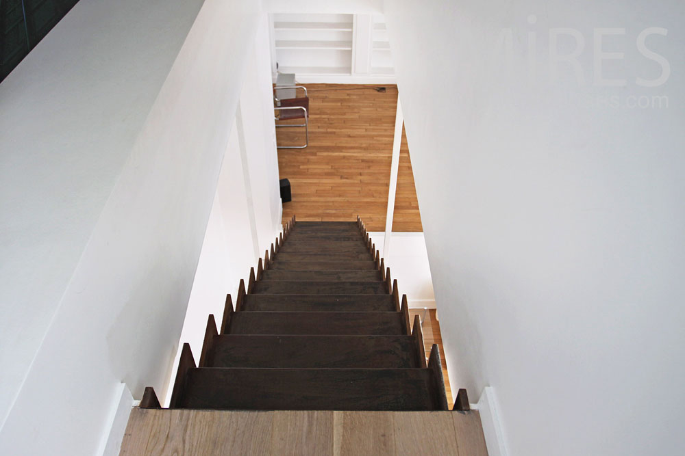 Black and white suspended staircase. C0807