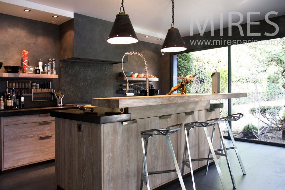 Cuisine moderne ambiance bois c0826 mires paris - Cuisine moderne bois ...