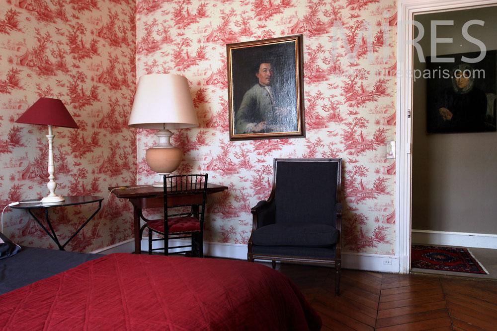 chambre toile de jouy c0851 mires paris. Black Bedroom Furniture Sets. Home Design Ideas