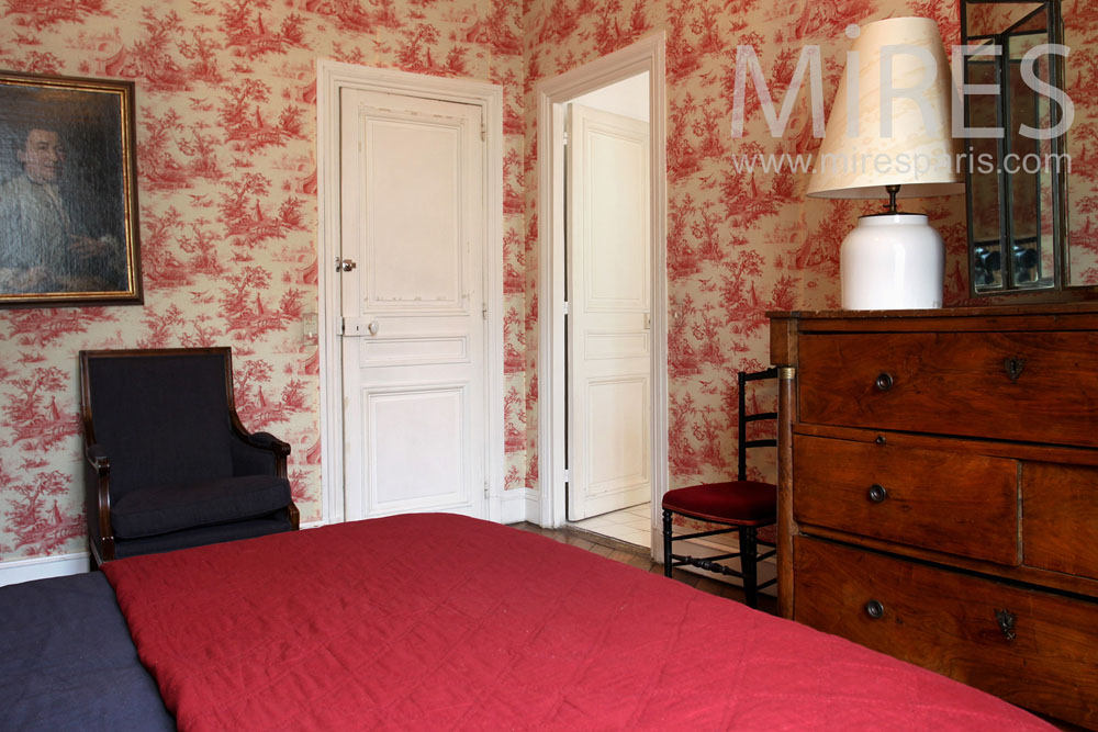 chambre toile de jouy c0851 mires paris. Black Bedroom Furniture Sets. Home Design Ideas