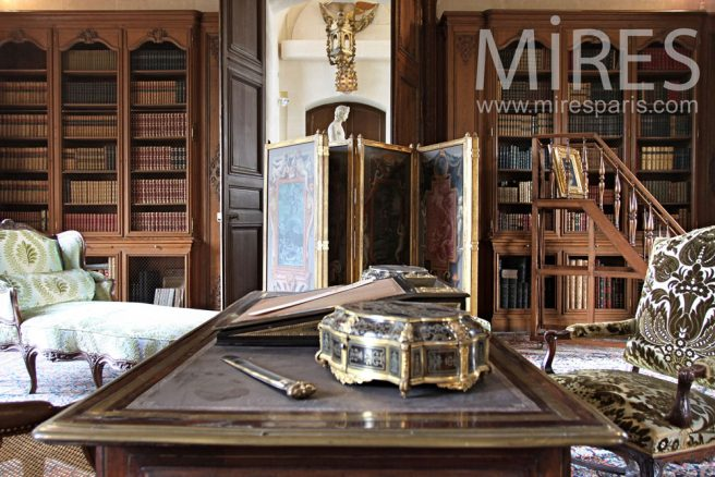 ancienne biblioth que dans le bureau c0380 mires paris. Black Bedroom Furniture Sets. Home Design Ideas