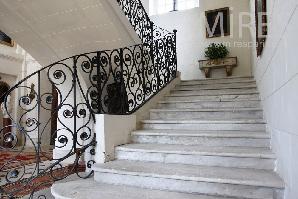 Staircase made of stone and wrought iron. C0937
