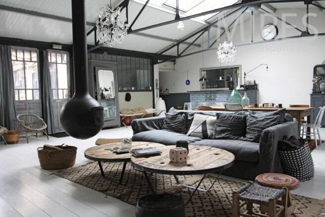 Grand salon pour loft gris c0950 mires paris - Loft salon de provence ...