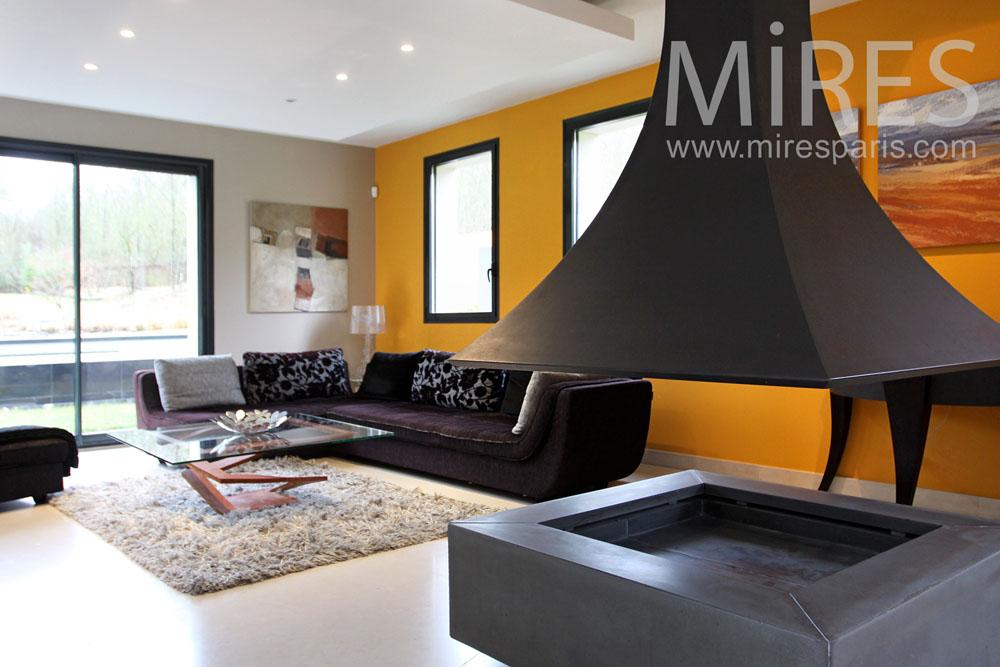 Salon jaune, cheminu00e9e centrale. C0974 : Mires Paris