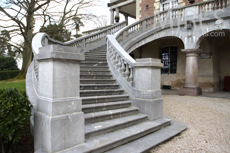 Double stone staircase. c0981