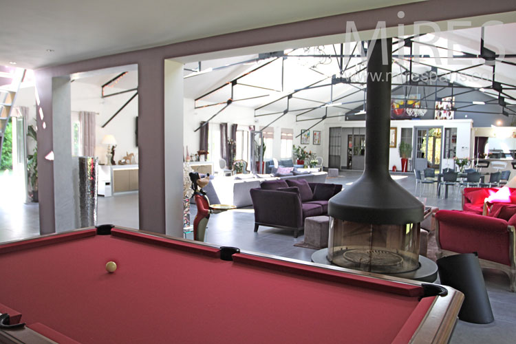 Red billiard and black fireplace. c1032