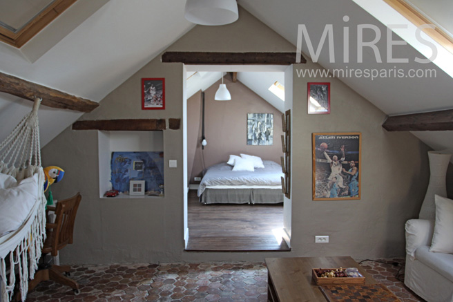 Bedroom with its own lounge attic. C1057