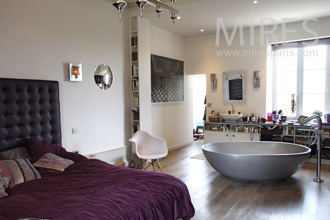 Modern colored bedroom with central bath. C1087