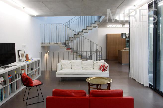 Escalier quart tournant moderne. C1088 | Mires Paris