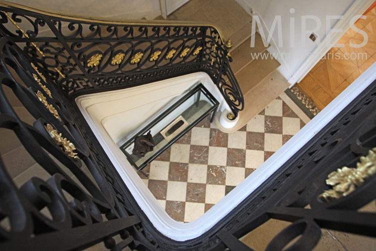 Iron staircase and marble. C1093