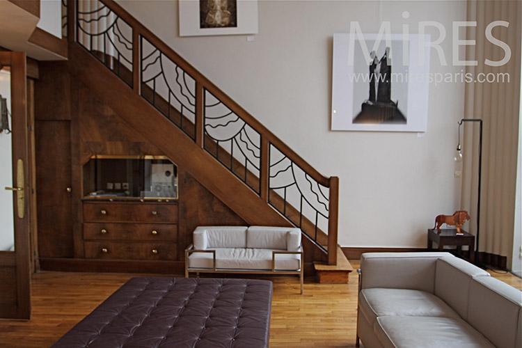 Bel escalier de bois art déco. C1115 | Mires Paris