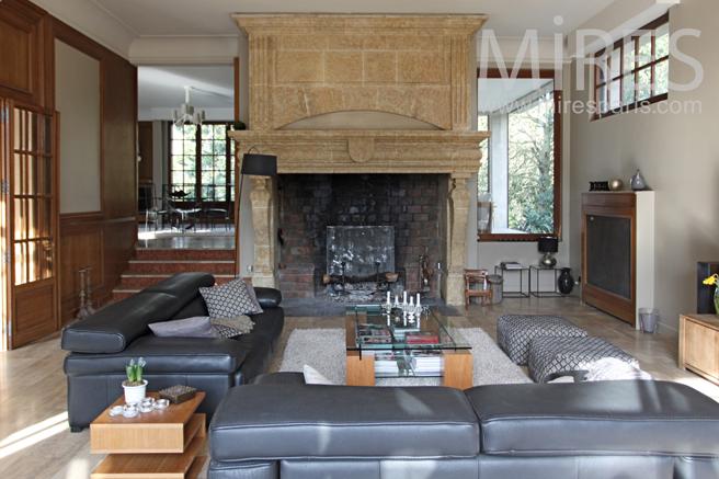 Large lounge with stone chimney. C1157