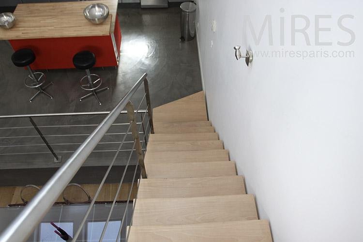 Wood metal staircase. C1175
