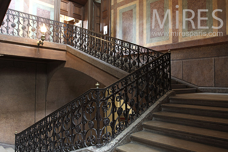 Large wooden staircase. C1186