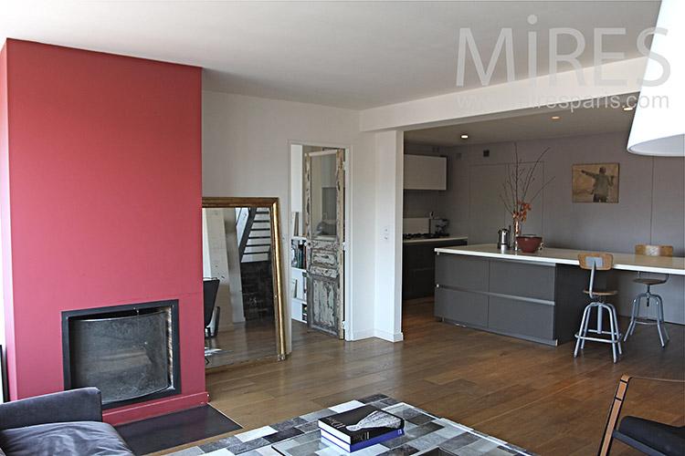 Salon avec cheminée moderne. C1219 | Mires Paris