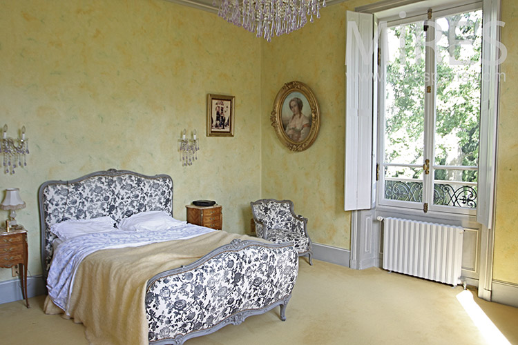 Beautiful gray and yellow bedroom. C1240
