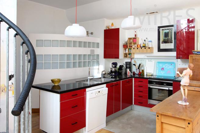 Red modern kitchen. C1247
