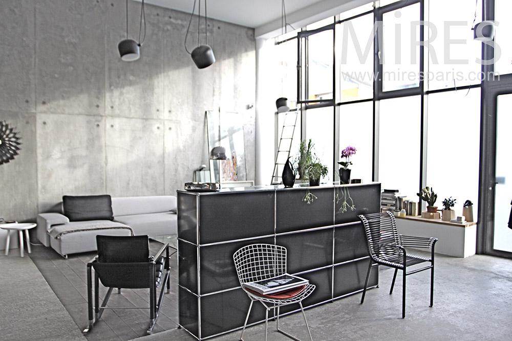 Salon gris et lumière blanche. C1288