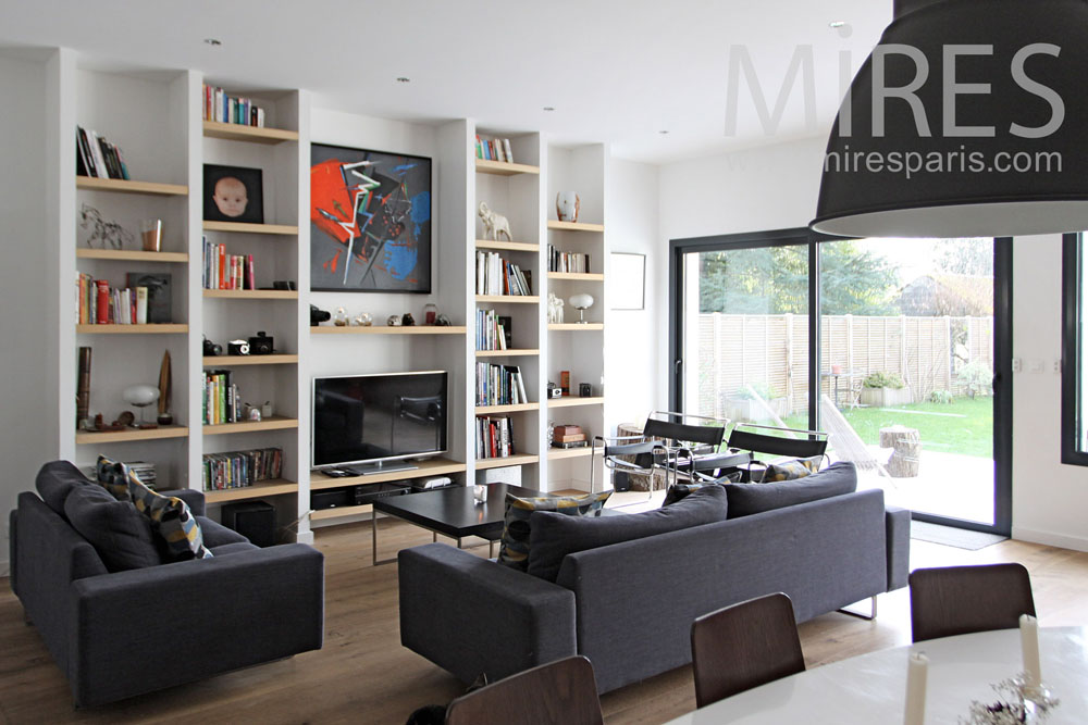 coin salon devant la biblioth que c1306 mires paris. Black Bedroom Furniture Sets. Home Design Ideas