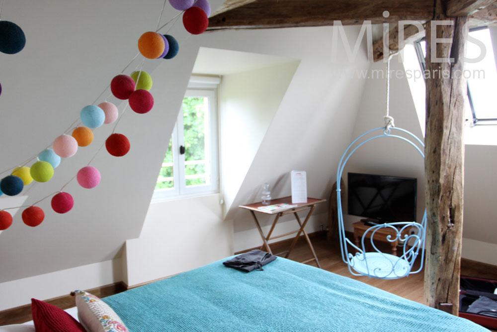 Modern attic bedroom. C1338