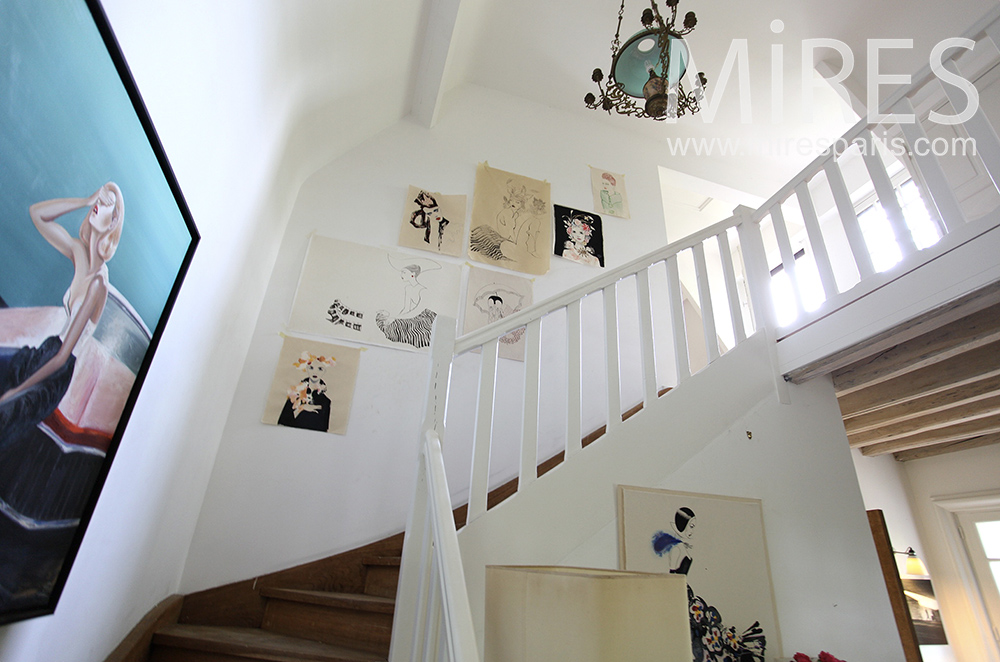 Classic white staircase. C1477