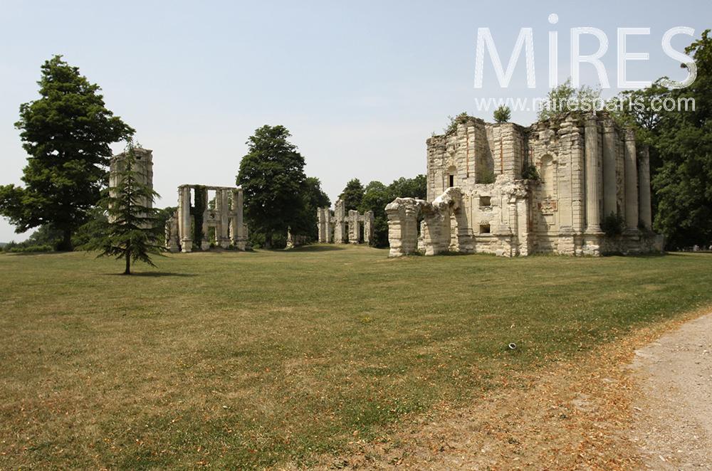 Larges ruines dans un parc. C1481