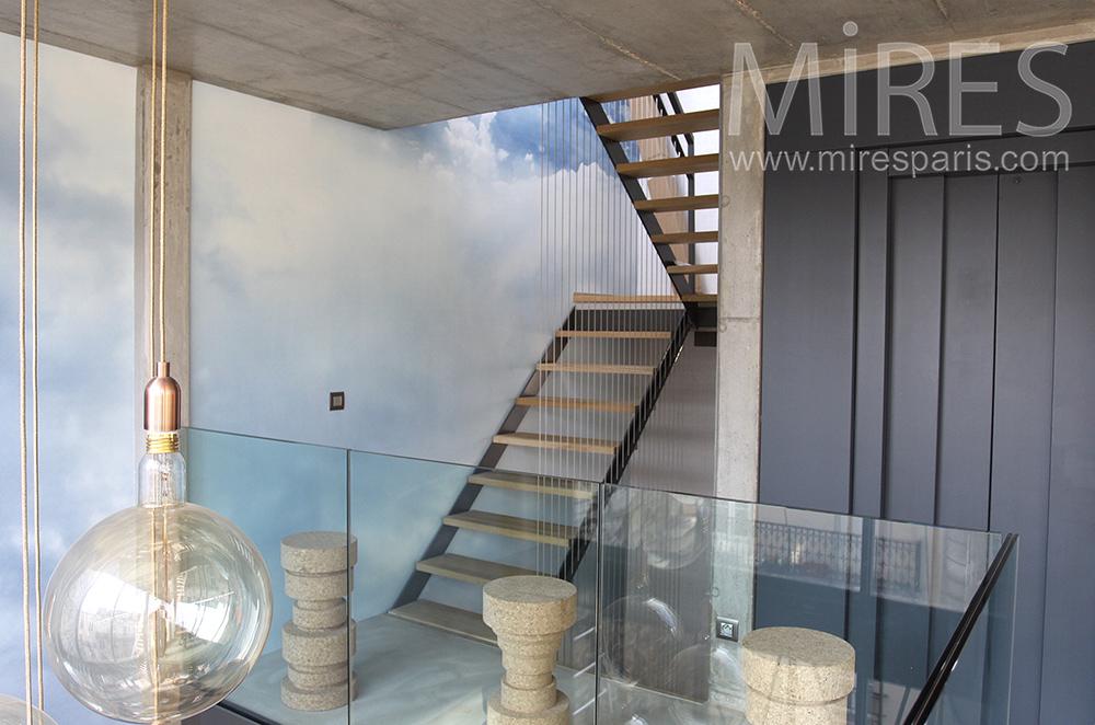 Escalier bois et métal. C1504