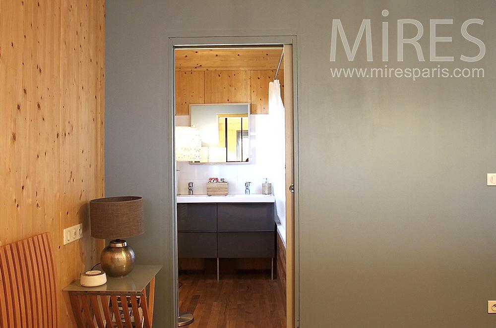 Chambre en bois avec petit bureau c1514 mires paris for Petit bureau chambre
