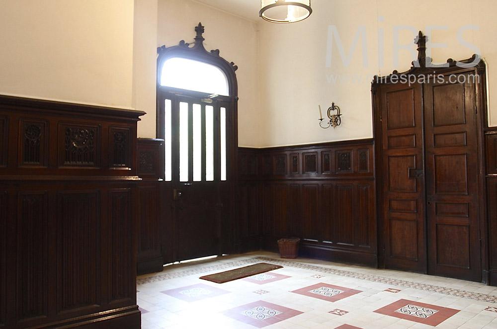 Entrance wood paneling. C1530