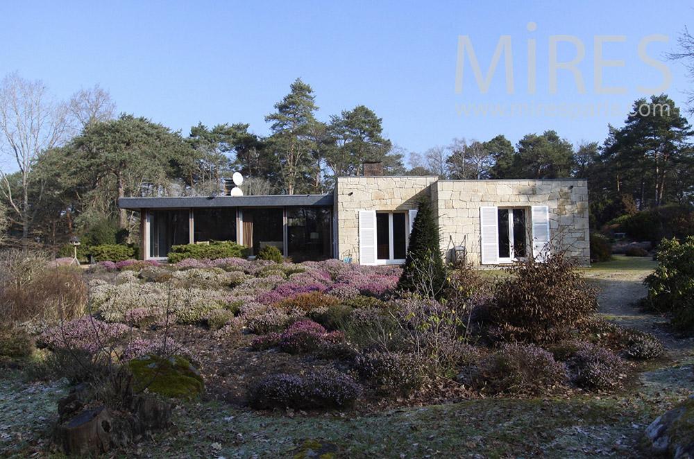 Maison basse dans la forêt. C1541