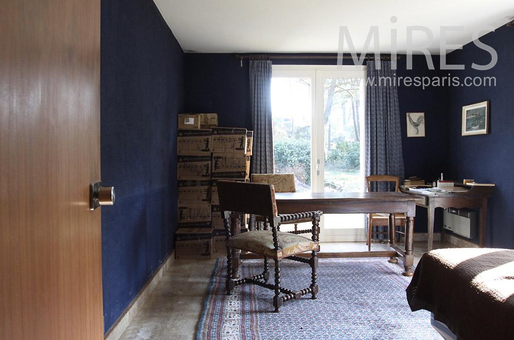 Chambre Bleu Nuit Avec Bureau C1541 Mires Paris