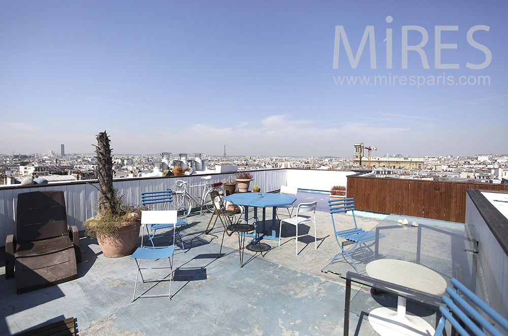 Rooftop with open views of Paris. c0449