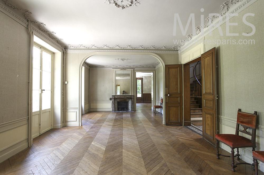 Double salon, moulures et parquet. C1585