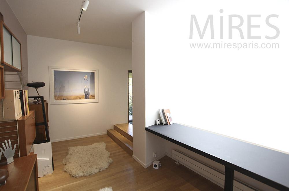 Bureau acier et cuir style contemporain meuble de bureau